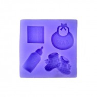Forma de turnat din silicon DIY - 4 forme Baby shower, 7.5 x 7.5 x 1 cm  width=190px; height=190px;