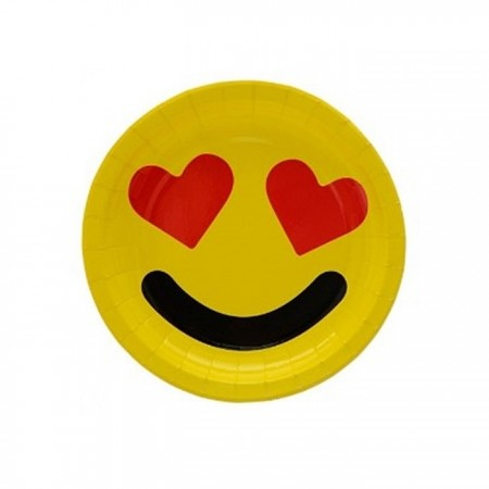 Farfurie din carton 18 cm - Smiley, 6 buc/set
