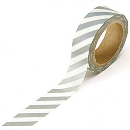 Washi tape Banda decorativa cu model (15 mm x 10 m) - Benzi argintii
