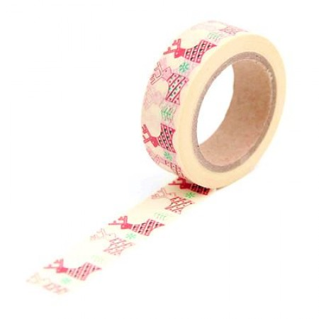 Washi tape Banda decorativa cu model (15 mm x 10 m) - Reni