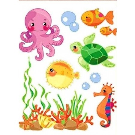 Sticker perete cu scop decorativ 30x22 cm - animale acvatice