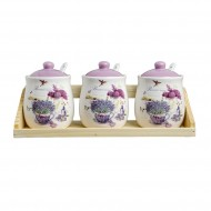 Set 3 recipiente ceramice condimente + suport + linguri, model lavanda